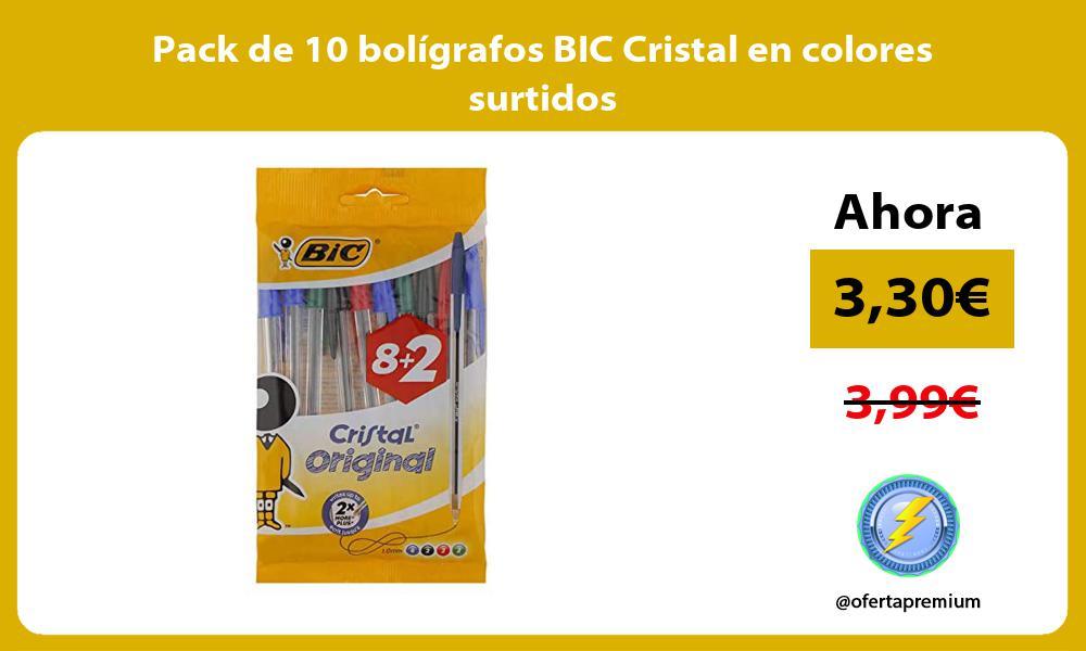 Pack de 10 bolígrafos BIC Cristal en colores surtidos