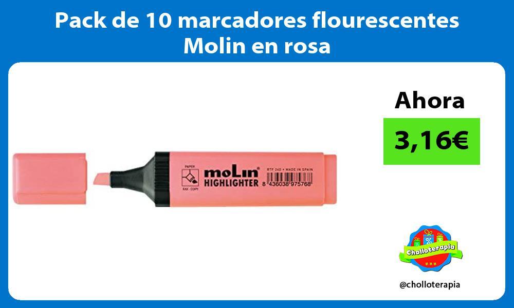 Pack de 10 marcadores flourescentes Molin en rosa