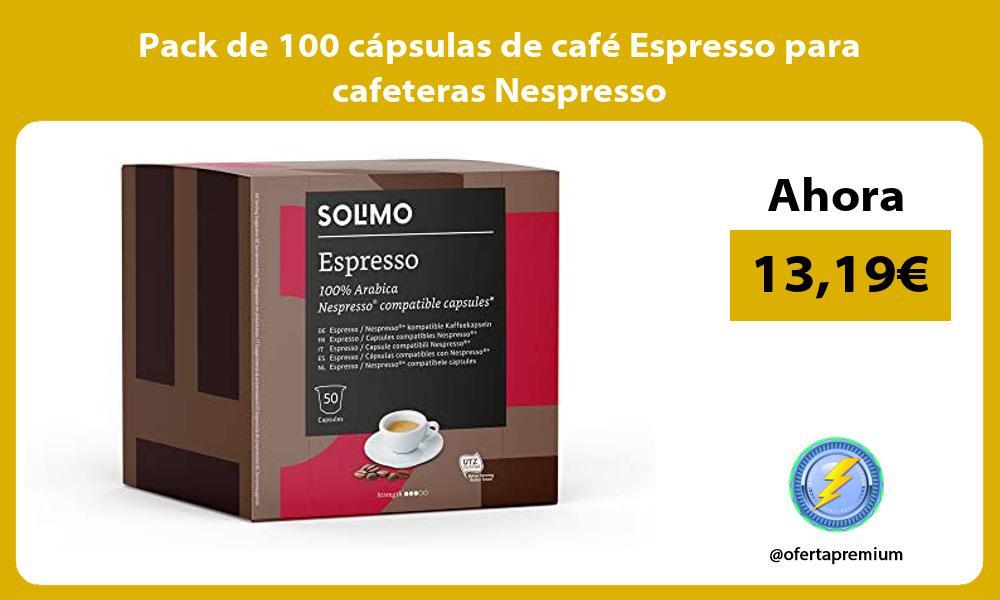 Pack de 100 cápsulas de café Espresso para cafeteras Nespresso