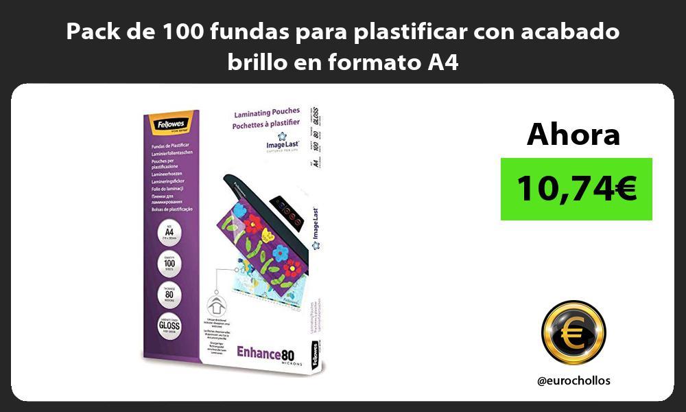 Pack de 100 fundas para plastificar con acabado brillo en formato A4