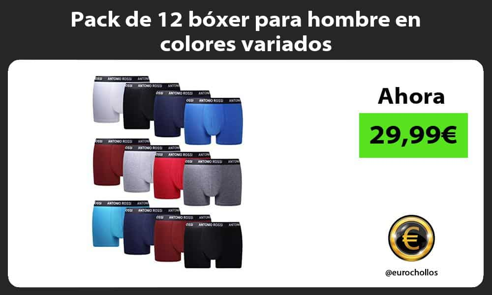 Pack de 12 bóxer para hombre en colores variados