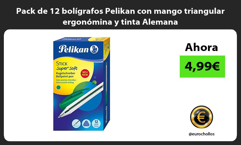 Pack de 12 bolígrafos Pelikan con mango triangular ergonómina y tinta Alemana