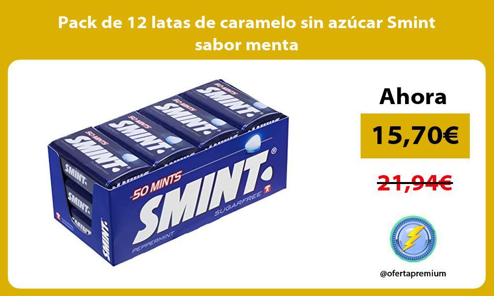 Pack de 12 latas de caramelo sin azúcar Smint sabor menta