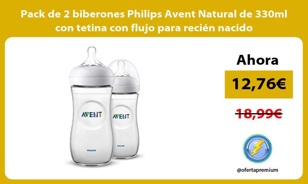 Pack de 2 biberones Philips Avent Natural de 330ml con tetina con flujo para recién nacido