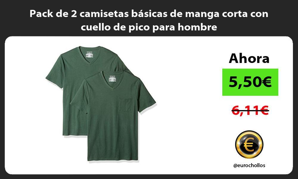 Pack de 2 camisetas básicas de manga corta con cuello de pico para hombre