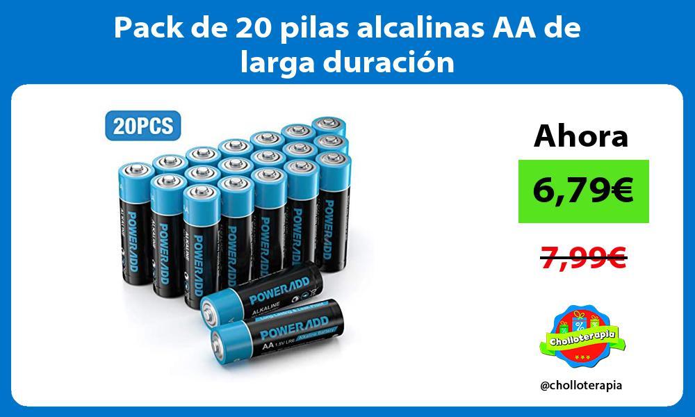 Pack de 20 pilas alcalinas AA de larga duración