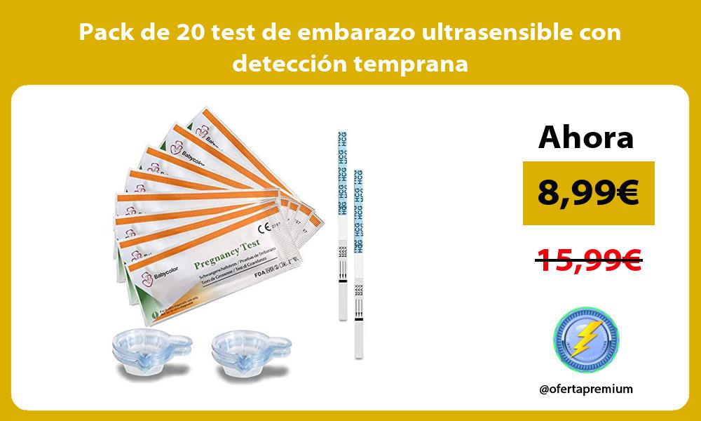 Pack de 20 test de embarazo ultrasensible con detección temprana
