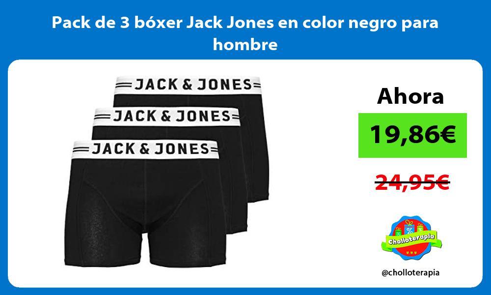 Pack de 3 bóxer Jack Jones en color negro para hombre