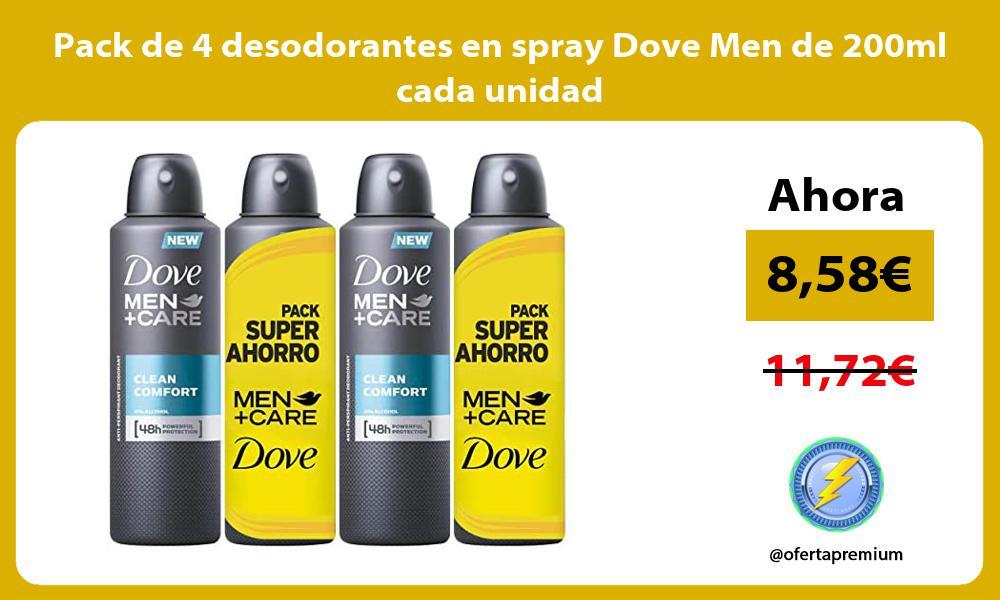Pack de 4 desodorantes en spray Dove Men de 200ml cada unidad