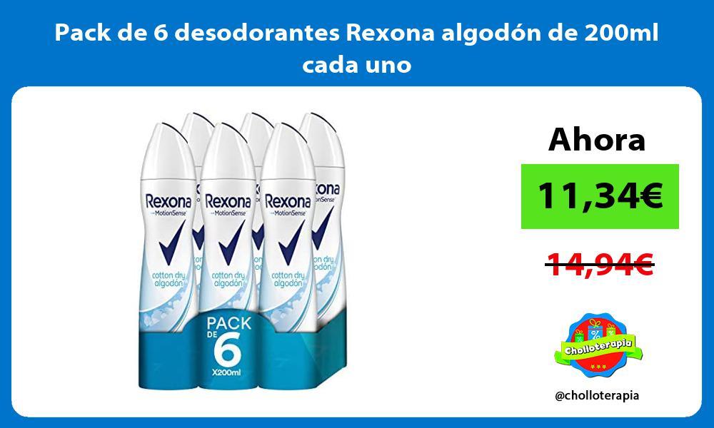 Pack de 6 desodorantes Rexona algodón de 200ml cada uno