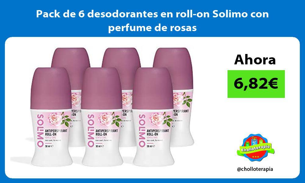 Pack de 6 desodorantes en roll on Solimo con perfume de rosas