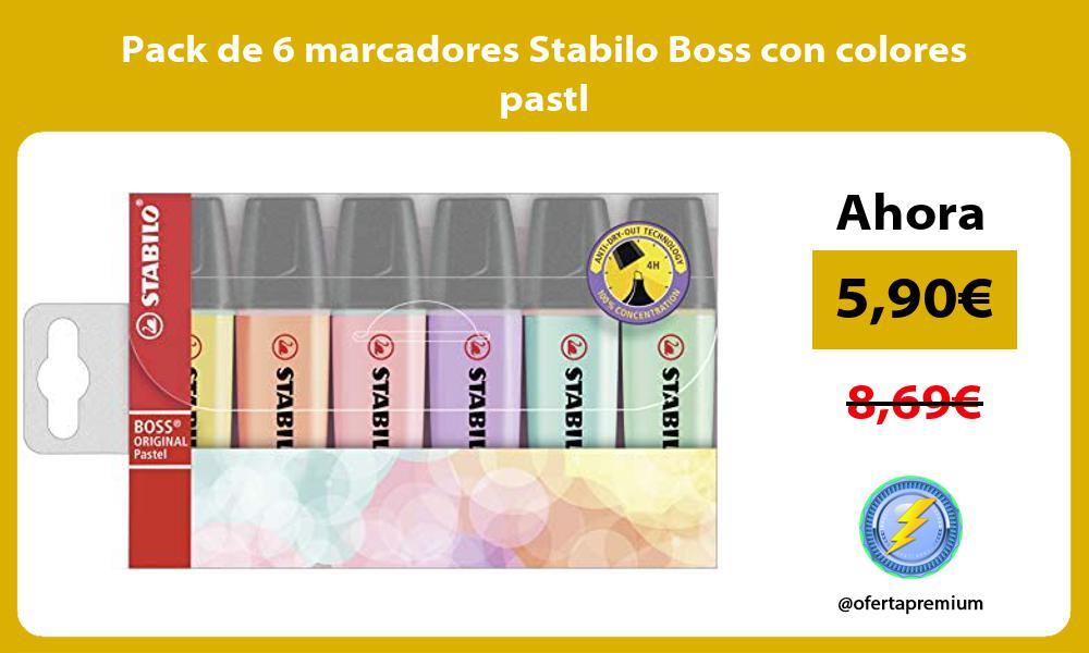 Pack de 6 marcadores Stabilo Boss con colores pastl