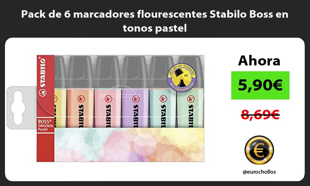 Pack de 6 marcadores flourescentes Stabilo Boss en tonos pastel