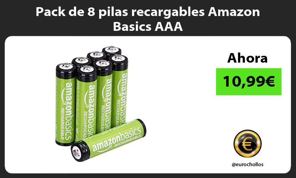 Pack de 8 pilas recargables Amazon Basics AAA