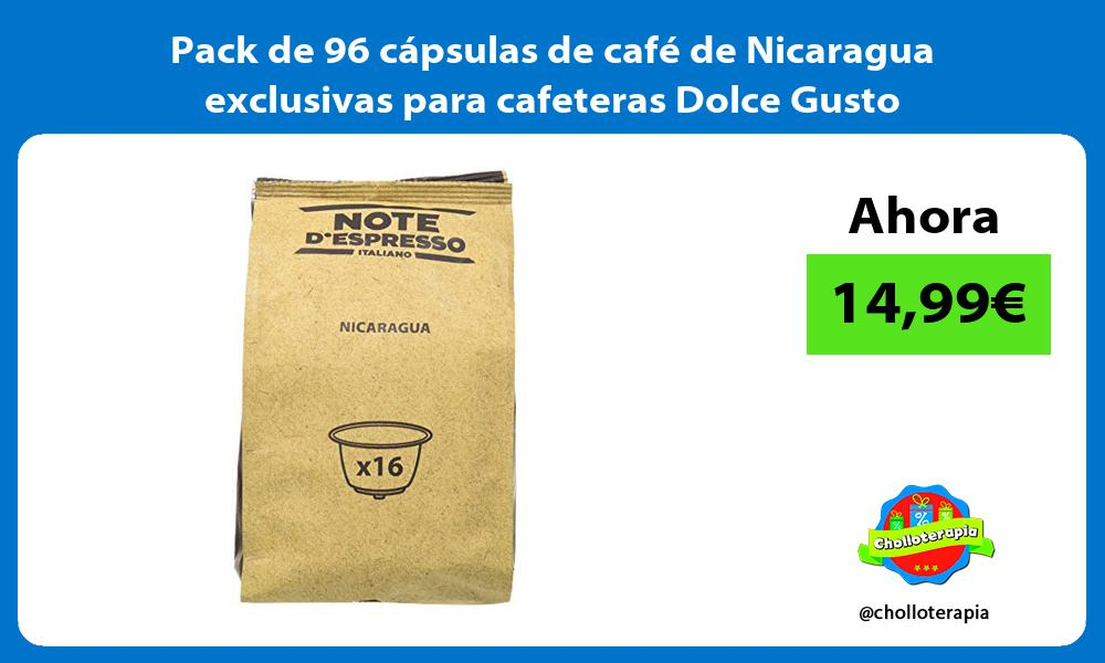 Pack de 96 cápsulas de café de Nicaragua exclusivas para cafeteras Dolce Gusto