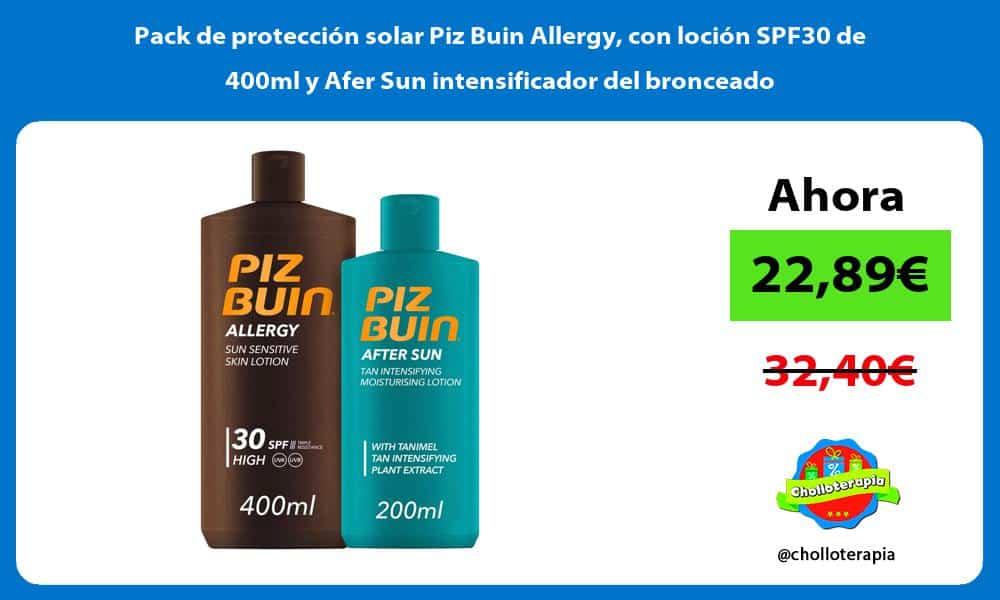 Pack de protección solar Piz Buin Allergy con loción SPF30 de 400ml y Afer Sun intensificador del bronceado