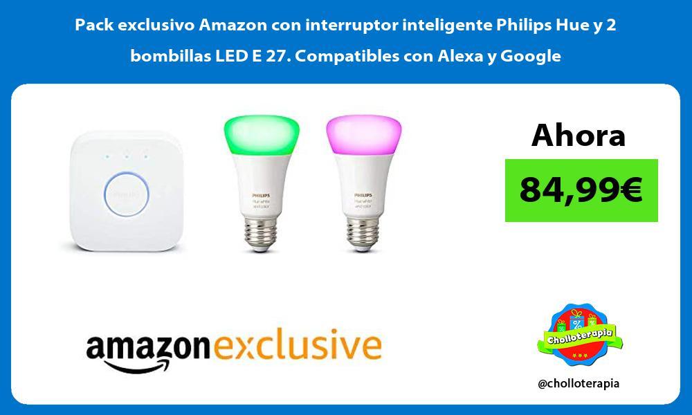 Pack exclusivo Amazon con interruptor inteligente Philips Hue y 2 bombillas LED E 27 Compatibles con Alexa y Google