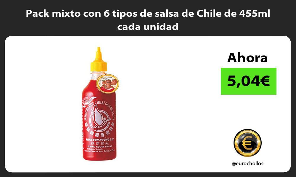 Pack mixto con 6 tipos de salsa de Chile de 455ml cada unidad