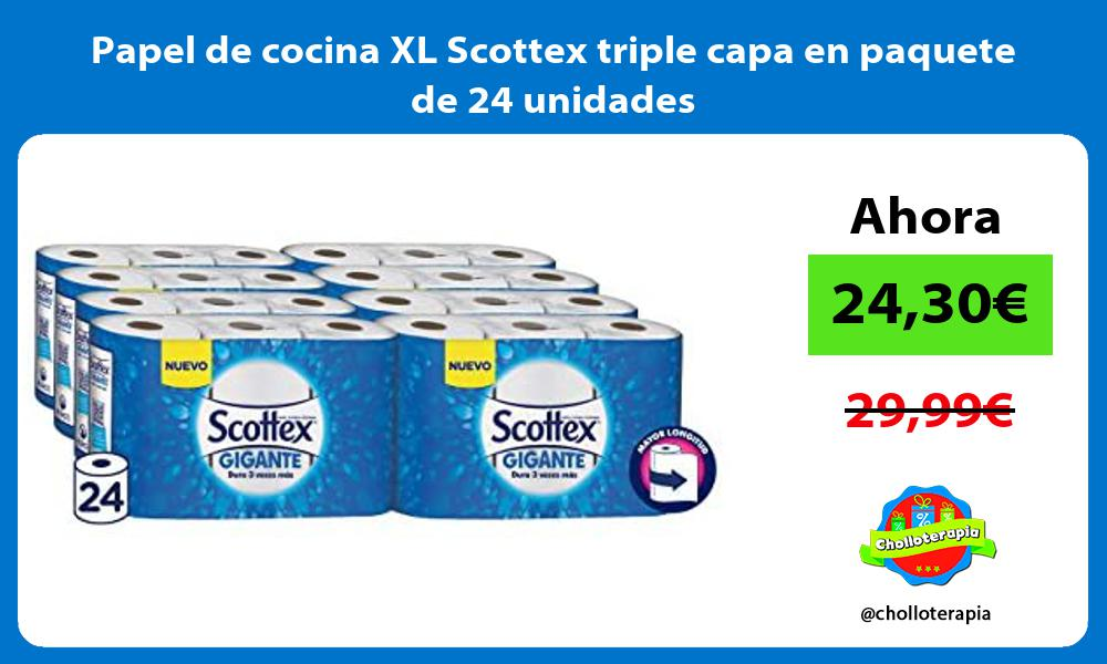 Papel de cocina XL Scottex triple capa en paquete de 24 unidades