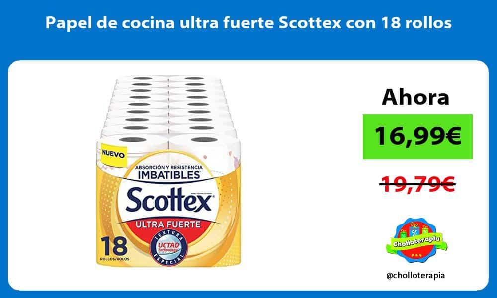 Papel de cocina ultra fuerte Scottex con 18 rollos