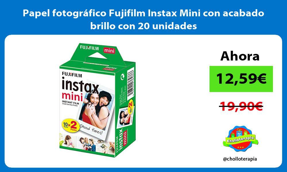 Papel fotográfico Fujifilm Instax Mini con acabado brillo con 20 unidades