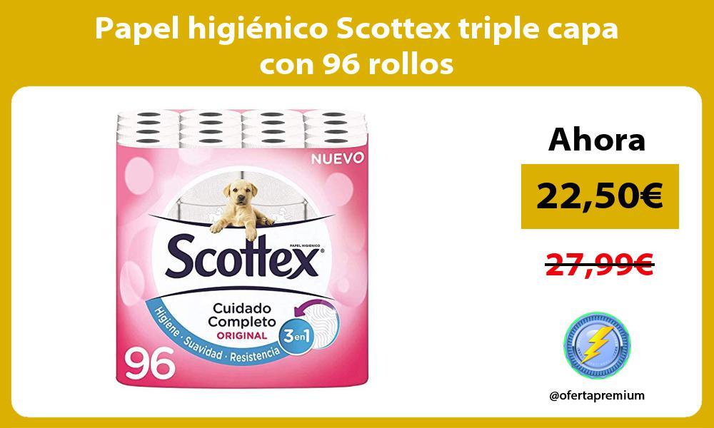 Papel higiénico Scottex triple capa con 96 rollos