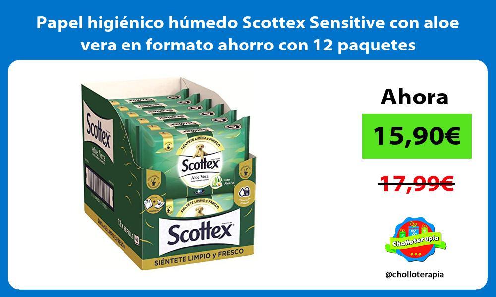 Papel higiénico húmedo Scottex Sensitive con aloe vera en formato ahorro con 12 paquetes