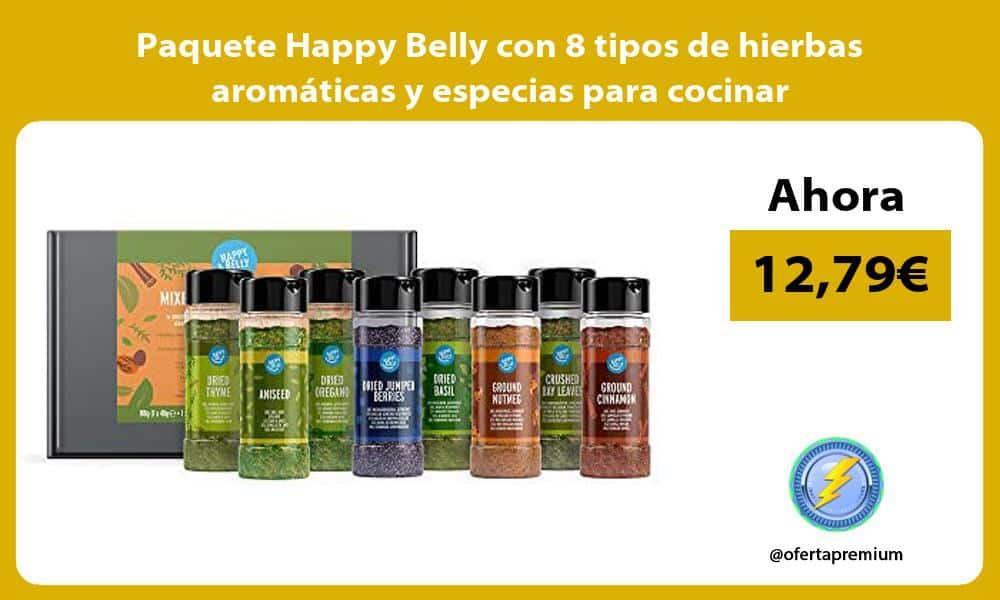 Paquete Happy Belly con 8 tipos de hierbas aromáticas y especias para cocinar