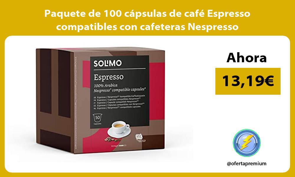 Paquete de 100 cápsulas de café Espresso compatibles con cafeteras Nespresso