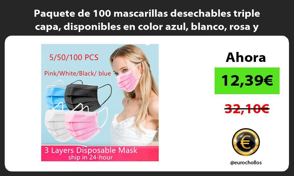 Paquete de 100 mascarillas desechables triple capa disponibles en color azul blanco rosa y negro