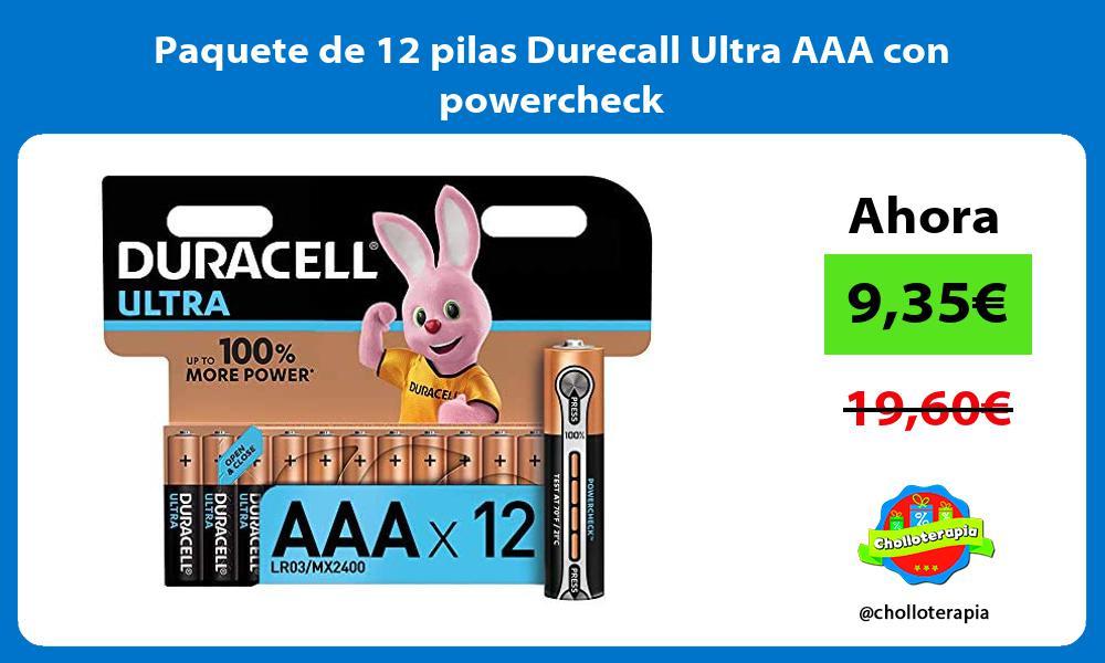 Paquete de 12 pilas Durecall Ultra AAA con powercheck