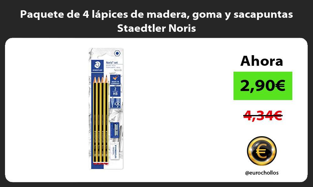 Paquete de 4 lápices de madera goma y sacapuntas Staedtler Noris