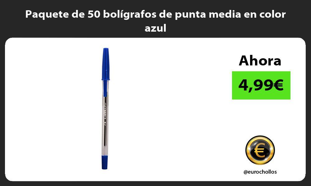 Paquete de 50 bolígrafos de punta media en color azul
