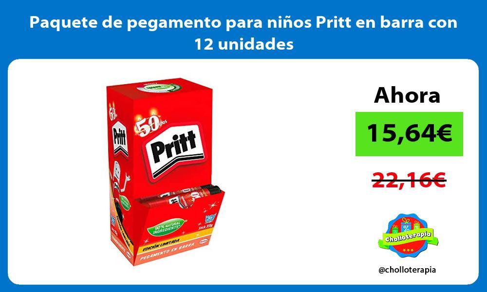 Paquete de pegamento para niños Pritt en barra con 12 unidades