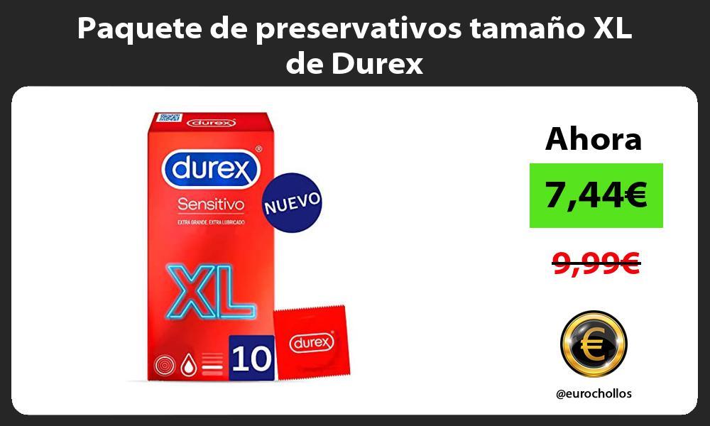 Paquete de preservativos tamaño XL de Durex