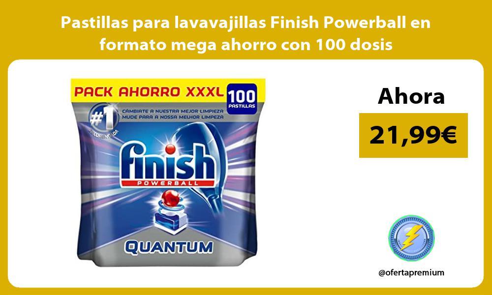 Pastillas para lavavajillas Finish Powerball en formato mega ahorro con 100 dosis