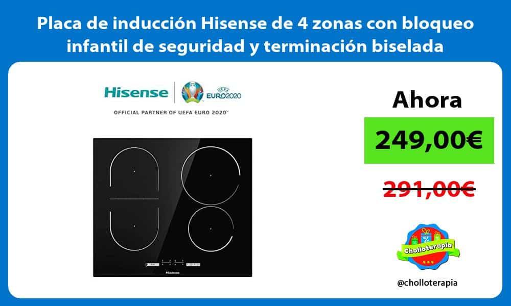 Placa de inducción Hisense de 4 zonas con bloqueo infantil de seguridad y terminación biselada