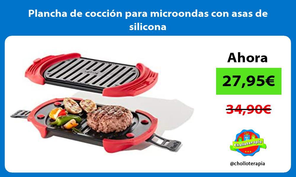Plancha de cocción para microondas con asas de silicona
