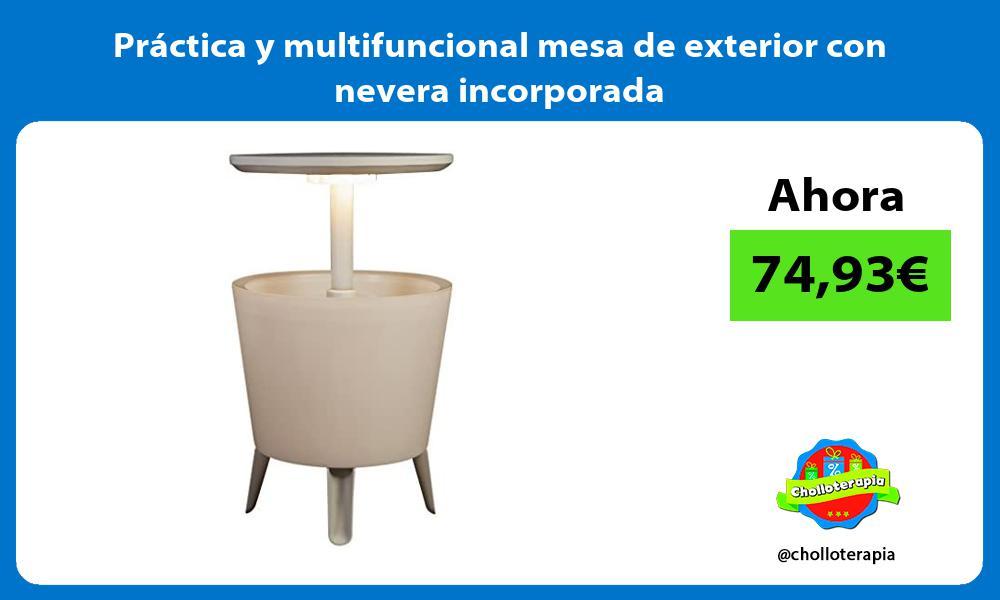 Práctica y multifuncional mesa de exterior con nevera incorporada