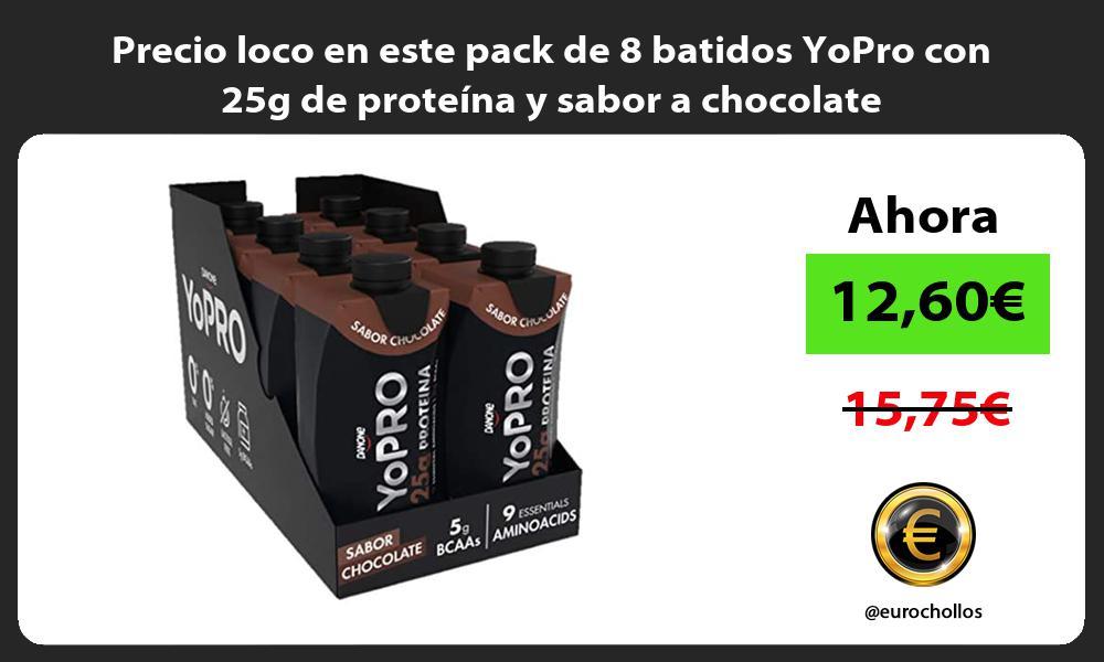 Precio loco en este pack de 8 batidos YoPro con 25g de proteína y sabor a chocolate