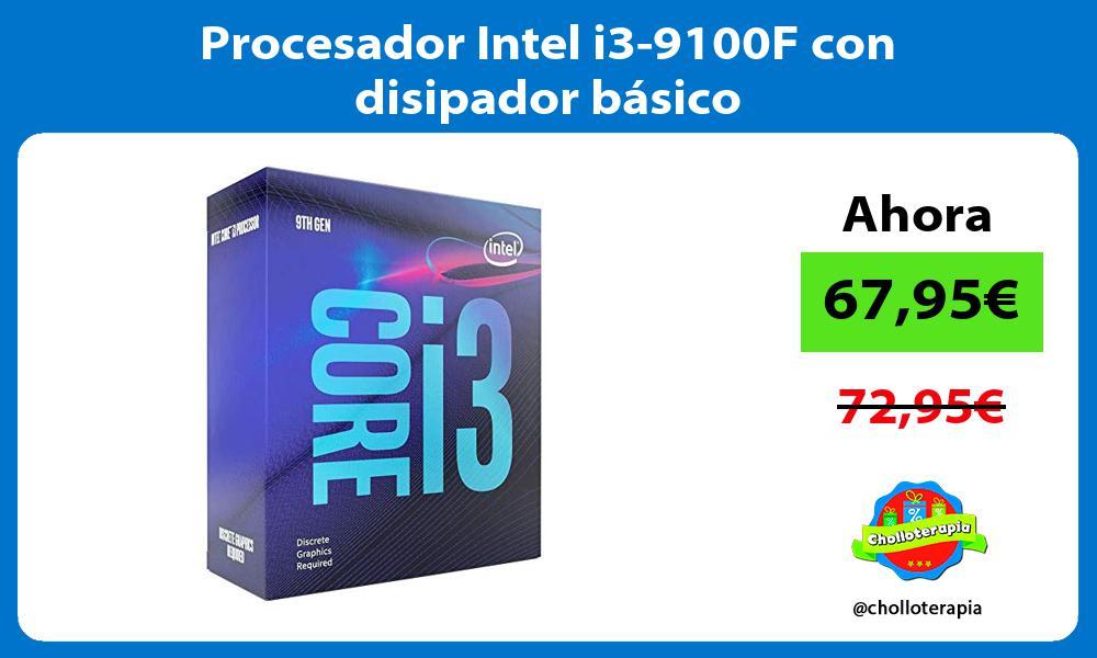 Procesador Intel i3 9100F con disipador básico