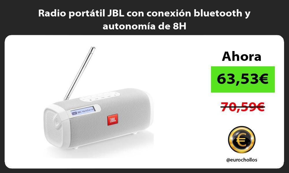 Radio portátil JBL con conexión bluetooth y autonomía de 8H