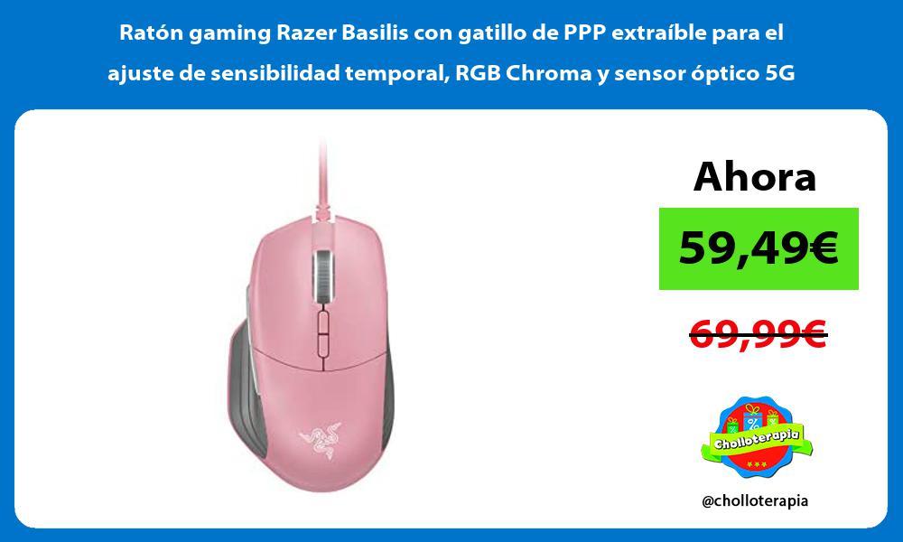 Ratón gaming Razer Basilis con gatillo de PPP extraíble para el ajuste de sensibilidad temporal RGB Chroma y sensor óptico 5G
