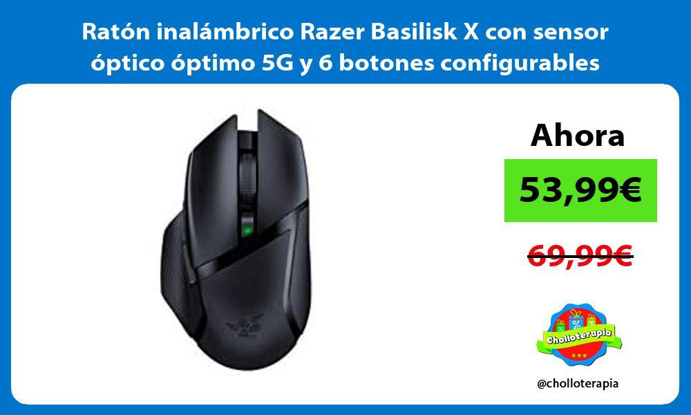 Ratón inalámbrico Razer Basilisk X con sensor óptico óptimo 5G y 6 botones configurables