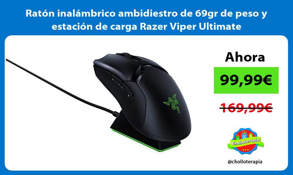 Ratón inalámbrico ambidiestro de 69gr de peso y estación de carga Razer Viper Ultimate