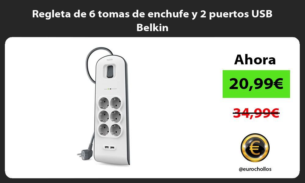 Regleta de 6 tomas de enchufe y 2 puertos USB Belkin