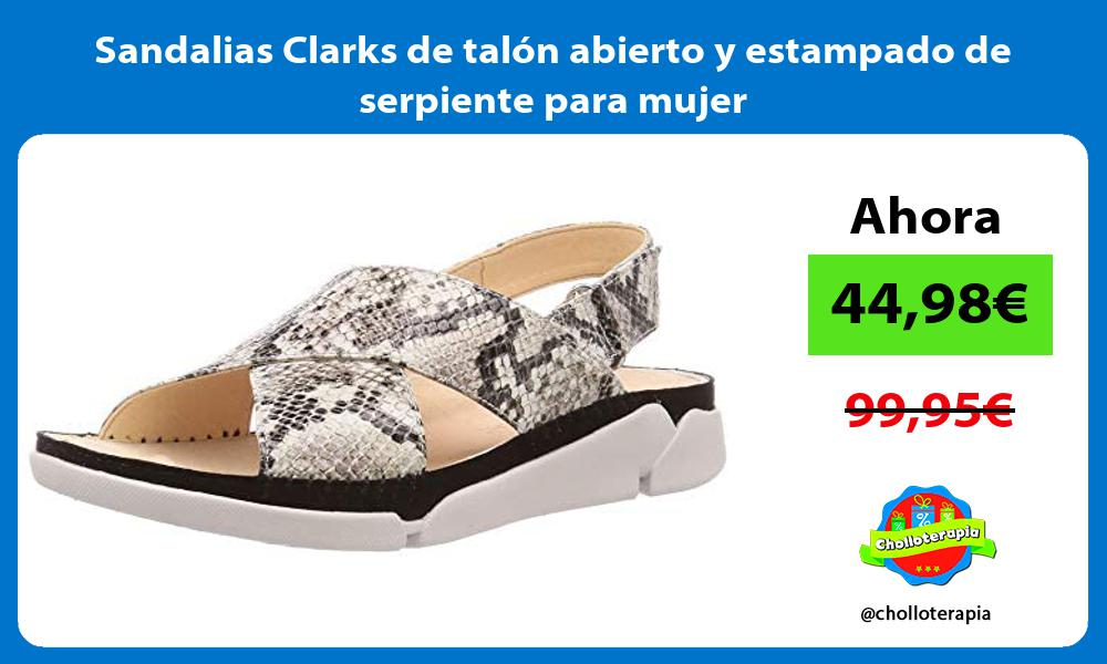 Sandalias Clarks de talón abierto y estampado de serpiente para mujer