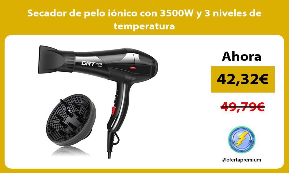 Secador de pelo iónico con 3500W y 3 niveles de temperatura
