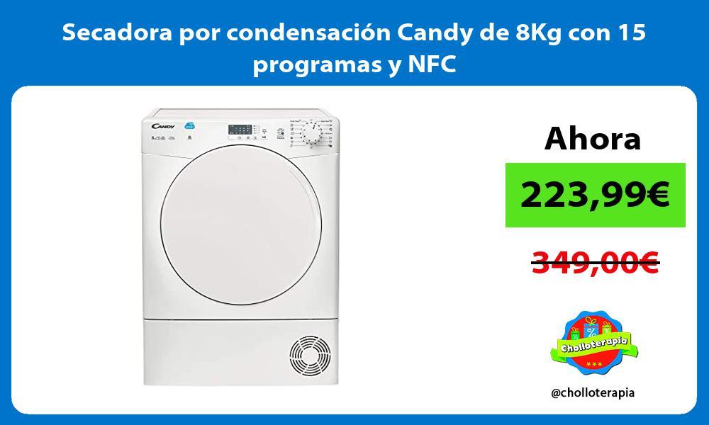Secadora por condensación Candy de 8Kg con 15 programas y NFC