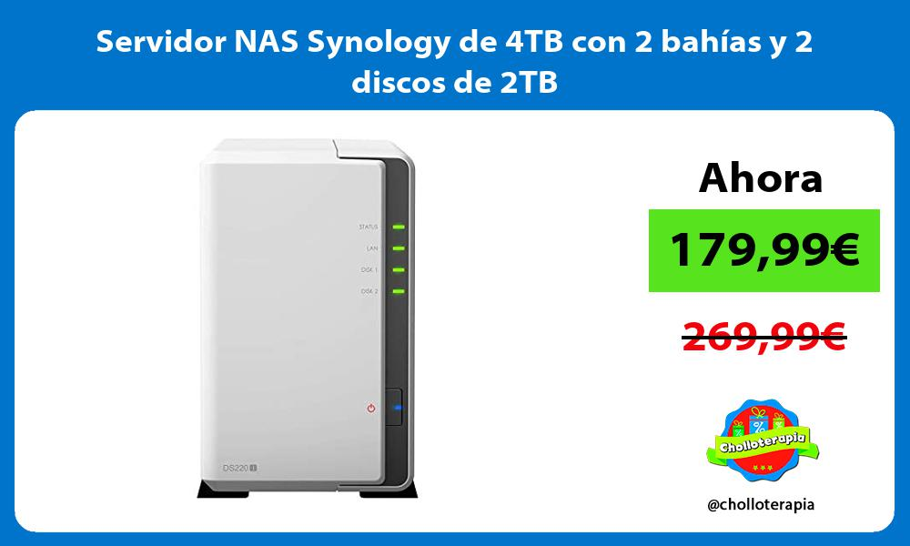Servidor NAS Synology de 4TB con 2 bahías y 2 discos de 2TB